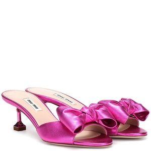 NWT Miu Miu Metallic Pink Leather Bow Slides